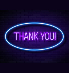 thank you realistic neon text sign isolated vector image