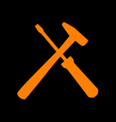 tools sign orange icon on black vector image