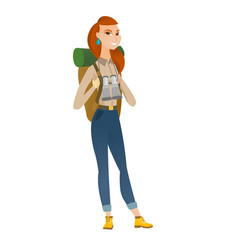 Traveler woman with backpack and binoculars vector