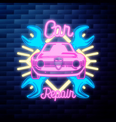 Vintage car repair emblem glowing neon vector