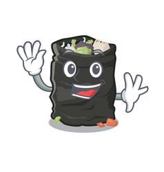 Waving garbage bag in cartoon shape vector