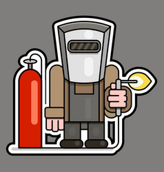 welder with gas cylinder and reducer vector image