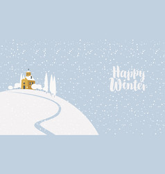 winter landscape with church on snow-covered hill vector image