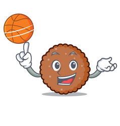 With basketball chocolate biscuit character vector