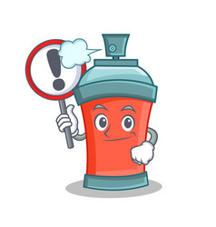 With sign aerosol spray can character cartoon vector