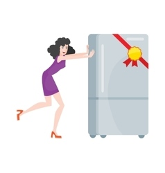 Woman Buys Refrigerator Electronic Device at Sale vector