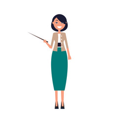 Woman in long green skirt and jacket with pointer vector