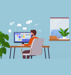 work at home freelancer man working on computer vector image