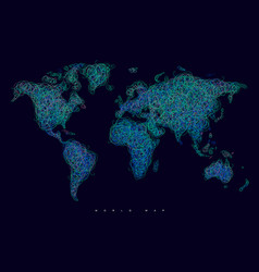 world map tangle lines blue dark vector image