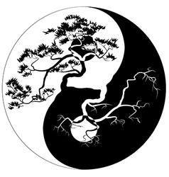 Yin yang bonsai vector