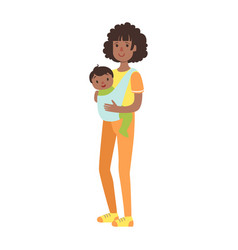 young mother with bason in a sling vector image