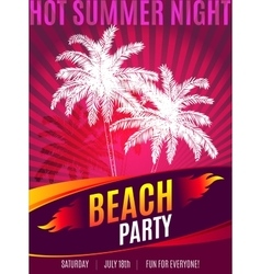 Beach Party design of flyer with place for text vector image