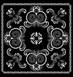 black and white abstract bandana print vector image vector image