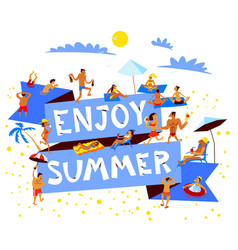 enjoy summer lettering summer beach banner with vector image vector image
