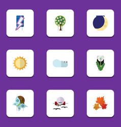 Flat icon bio set of overcast half moon floral vector