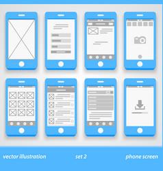 flat phone screen set 2 vector image vector image