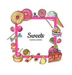 frame with place for text hand drawn sweets vector image