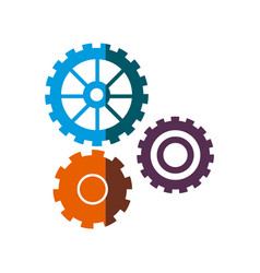 gear work mechanical cooperation shadow vector image