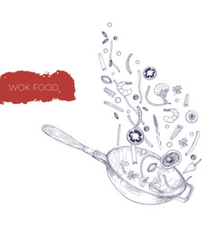 monochrome realistic drawing of wok pan and vector image vector image