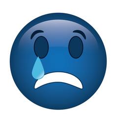 sad emoticon style icon vector image