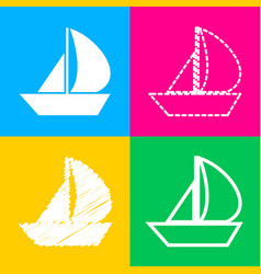 sail boat sign four styles of icon on four color vector image