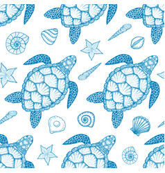 seamless pattern with sea turtle and shells vector image vector image