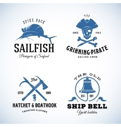 Vintage Nautical Sea Logos or Labels with vector image
