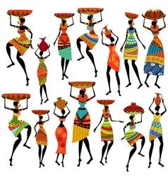 africa girl set vector image