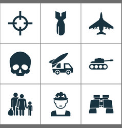 army icons set collection of military panzer vector image vector image