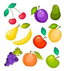 Fruit set isolated on white vector image