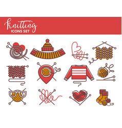 knitting logo templates of knitted clothing or vector image vector image