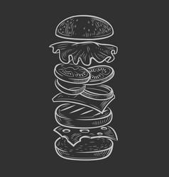 black burger vector image