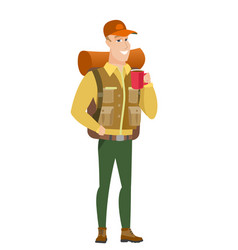 caucasian traveler holding cup of coffee vector image vector image