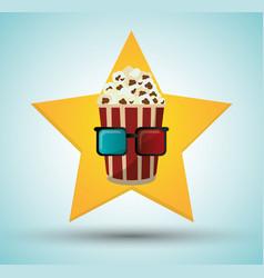 cinema pop corn bucket 3d glasses star background vector image
