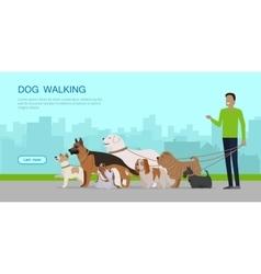 Dog Walking Banner Man Walks with Puppies vector image