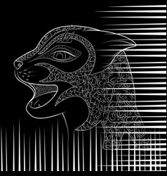 Head of a wild cat zen tangle with damaged vector