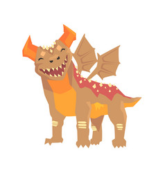horned dragon monster with wings mythical and vector image