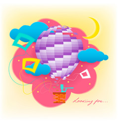 Looking for fairy flying in a balloon in the sky vector
