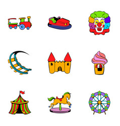 lunapark icons set cartoon style vector image