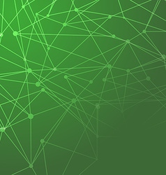 Molecules connected green background vector