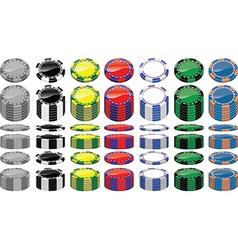 Set of poker chips vector
