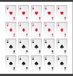 set of royal flushes isolated on white background vector image
