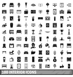 100 interior icons set simple style vector image