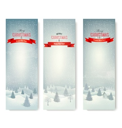Christmas winter landscape banners vector image