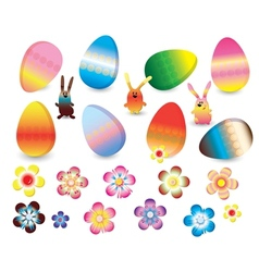 Easter set of colorful rabbits eggs and flowers vector image vector image