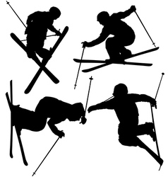Freestyle Skier Silhouette vector image vector image