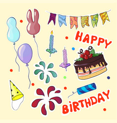happy birthday set in cartoon style vector image