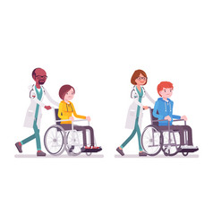 male and female doctor with wheelchair patient vector image