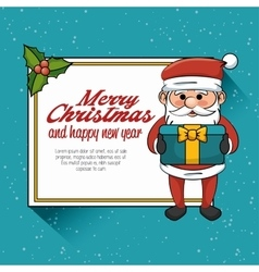 postcard merry christmas and happy new year santa vector image