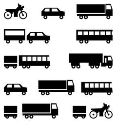 Set of icons - transportation symbols Black vector image vector image